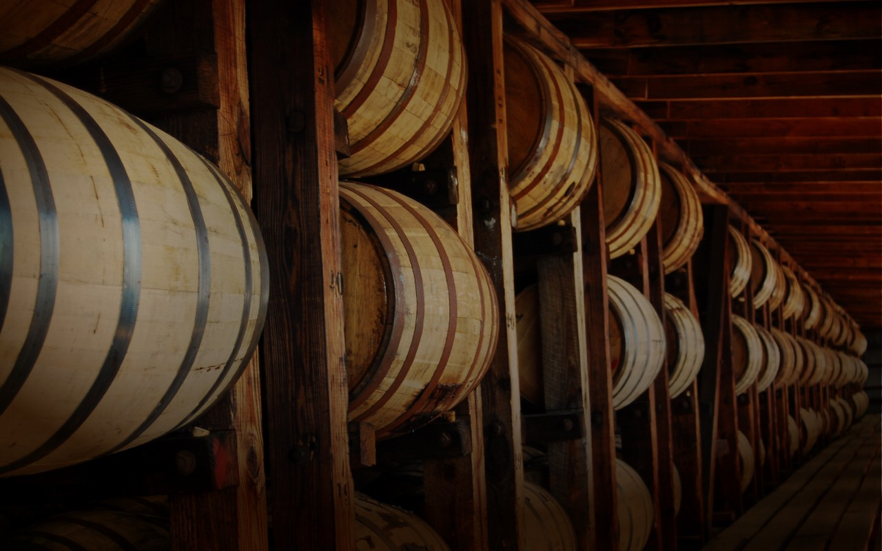 Long wall of oak barrels