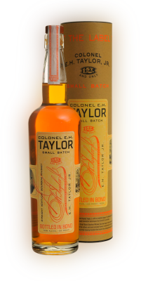 750 milliliter bottle of Colonel E.H. Taylor Single Barrel Bourbon Whiskey with the case the bottle is manufactured in