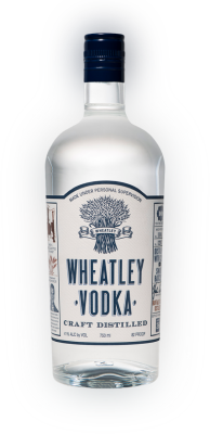 Close up image of Wheatley Vodka's 750 milliliter bottle