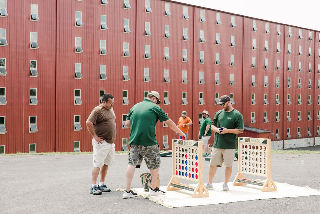 Employees playing a game at an event