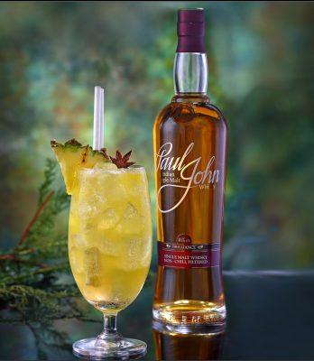 Download Paul John Single Malt yellow cocktail with pineapple garnish