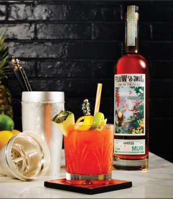 Download Jung & Wulff fruity cocktail and bottle with shaker behind it