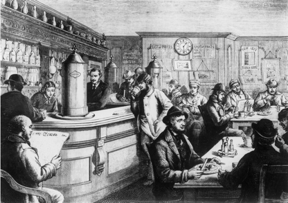 Pencil drawing of inside of original Merchants Exchange coffee house