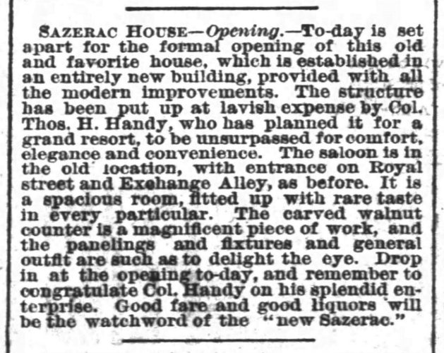 Image of newspaper ad announcing reopening of Sazerac House 1882