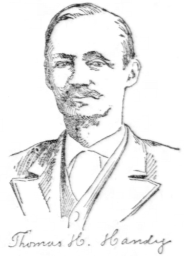 Black and white pencil drawing portrait of Thomas H. Handy