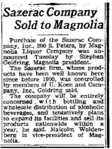 Newspaper announcement about Sazerac Company being sold