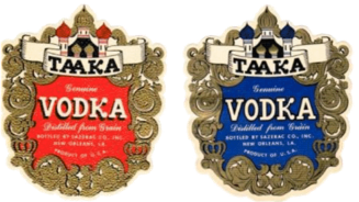Two Taaka Vodka labels