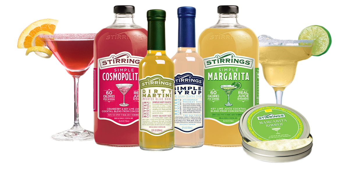 Stirrings Collection of  Non-Alcoholic Mixers, Rimmers and Cocktail ingredients