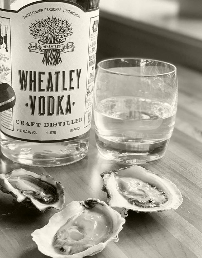 1 liter bottle of Wheatley Vodka paired with raw oysters