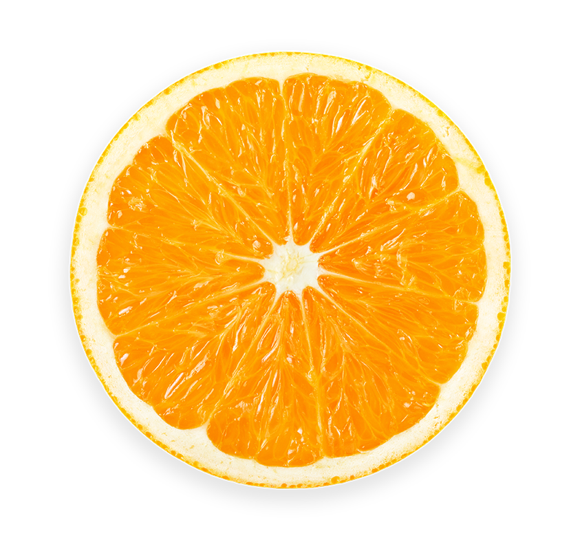 Orange slice, top view with transparent background