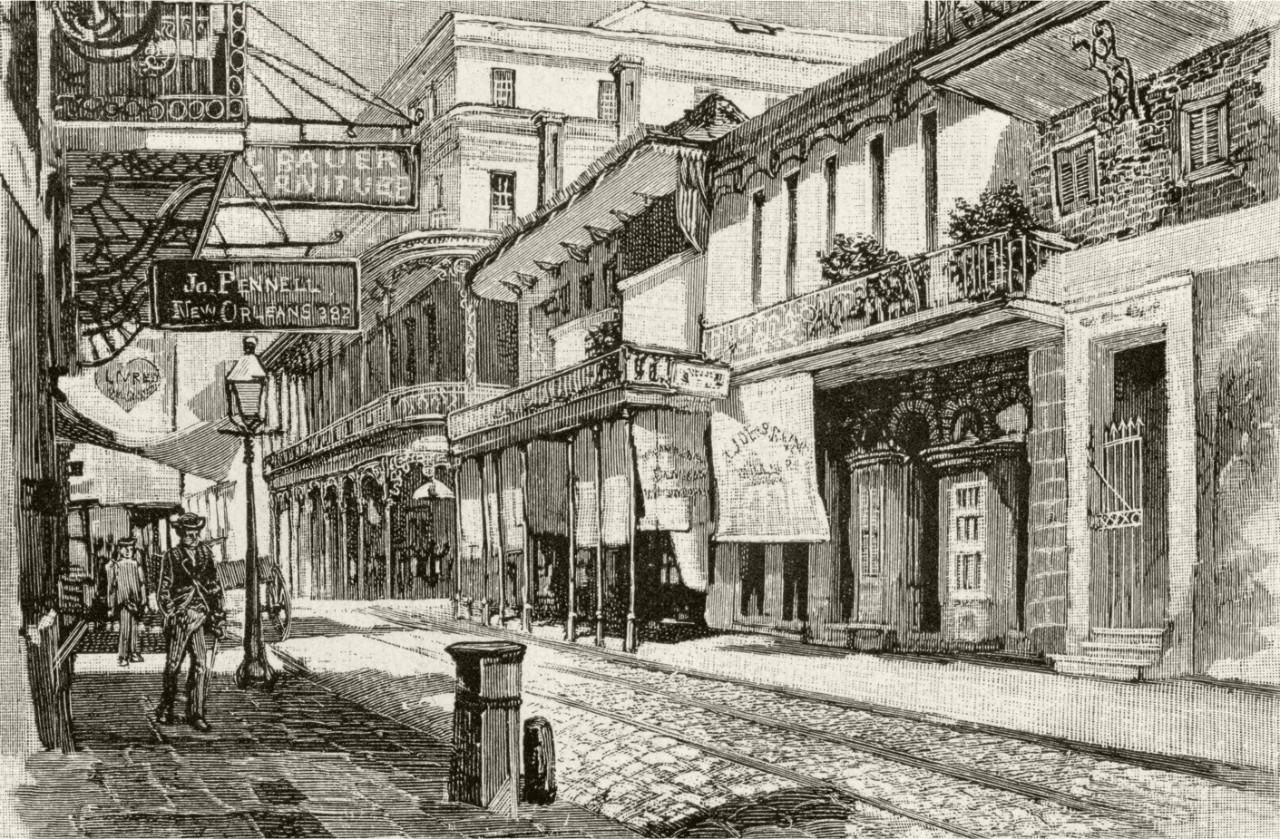 Pencil drawing of New Orleans in the 1800's