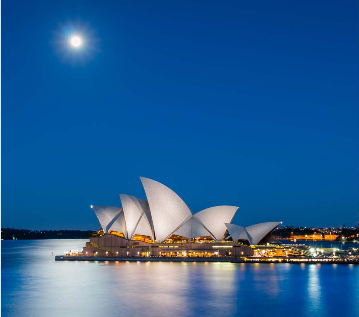 Sydney Harbour at night with a focus on Sydney Opera House