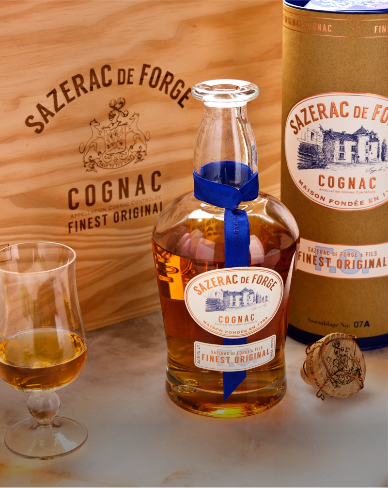 Closeup of Sazerac de Forge Cognac Packaging