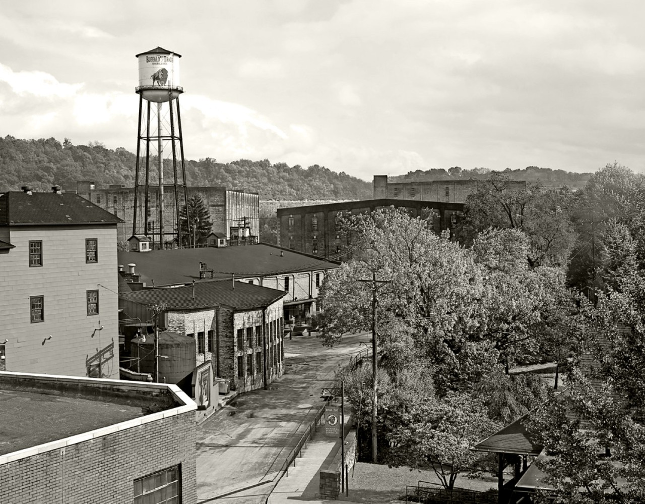 Black and white aerial view of Buffalo Trace Distillery