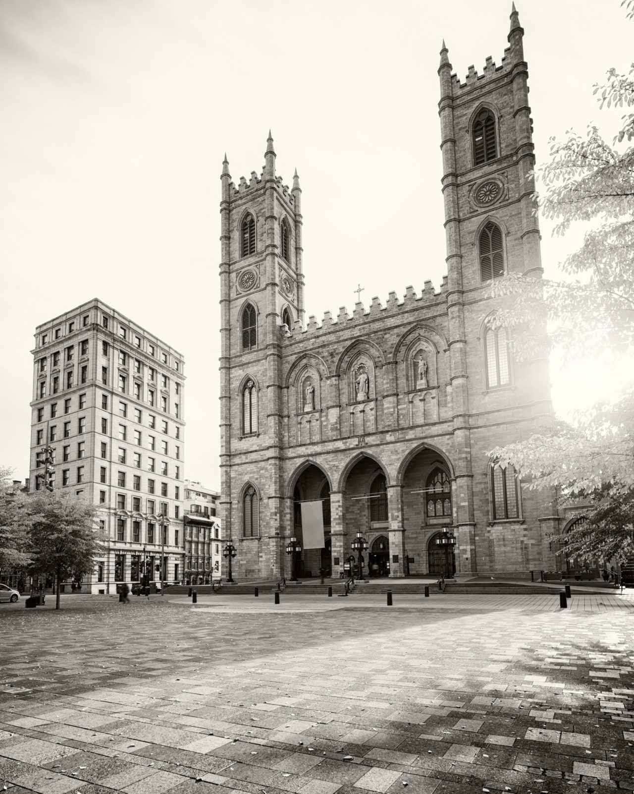 Black and white old Montreal cathedral
